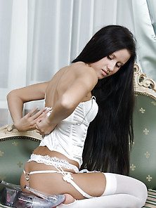 Black Hair,  Lingerie,  Small Tits,  Teen,  Posing,  Teasing,  Long Ha