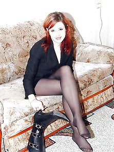 Babes Teen In Black Stockings Nylon Pantyhose