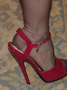 New Highish Red Heels With Nylon Stockings