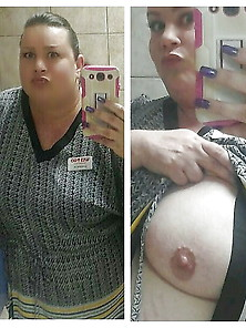 Selfies At Work.  Flashing My Big Tits And Clothed.