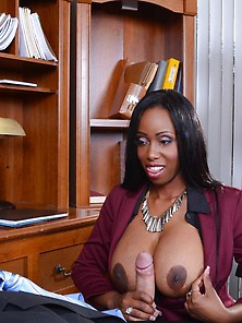 Black Chick With Black Stockings Gives A Titjob And Fucks Her Bo