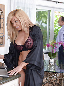 Blond-Haired Milf Housewife Fucking A Much Younger Guy In The Ki