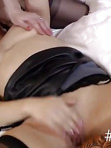 Eaten Out Lesbian Brit Milf Fingers Pussy And Gets Ass Spanked