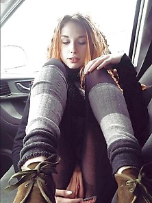 Redhead In The Car Showing That Killer Pussy