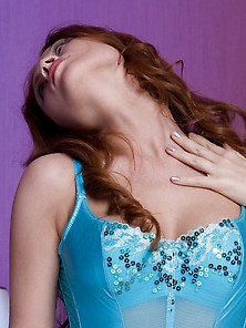 Redheaded Chick Dressed In Blue Shows Her Body On The Big Bed Vi