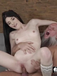 Small Tits Horny Brunette Mia Evans Got Fucked By Hornygrandpa